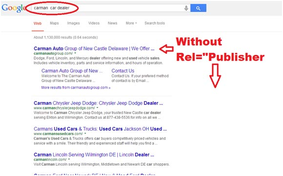 "Google Search Result Without Rel=""Publisher"""