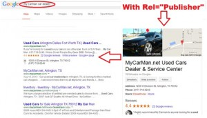 """Google Search Result With Rel=""""Publisher"""""""