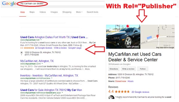 "Google Search Result With Rel=""Publisher"""