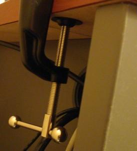 C-Clamp Attached Underneath Desk Ledge