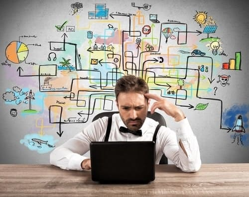 Man with laptop stressing over choosing an online business incorporation service